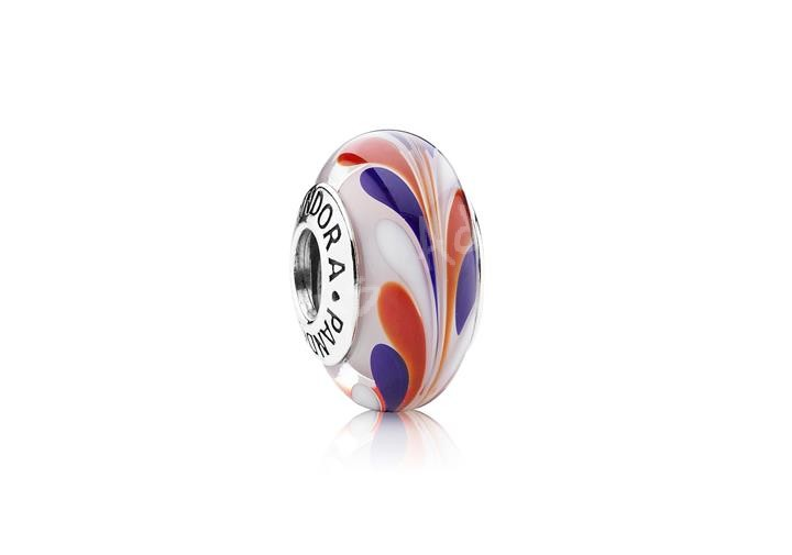 The red, white, and blue Pandora swirl Murano