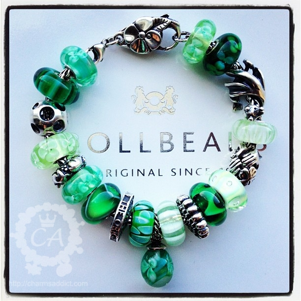 More green Trollbeads glass beads!
