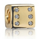 gold dice with diamonds