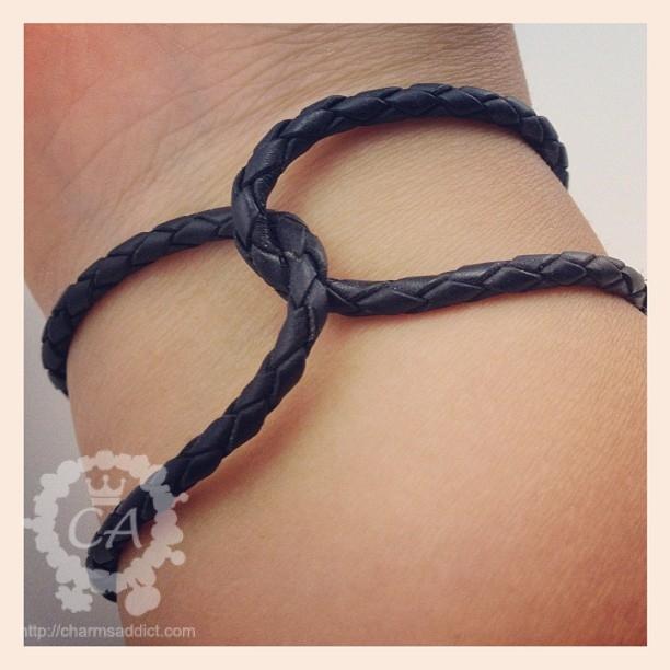Pandora Black Single Braided Leather Bracelet
