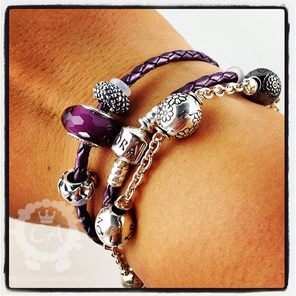 Double Leather Pandora Bracelet With Charms