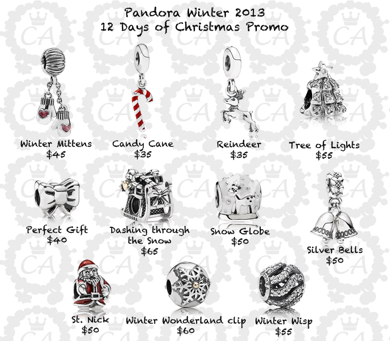 Pandora 12 Days Of Christmas Promo Charms Addict