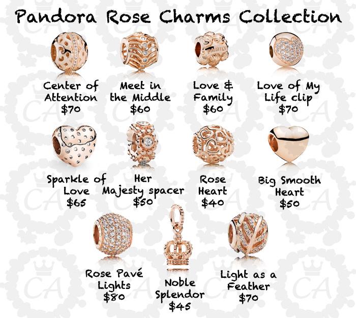 charms pandora or rose