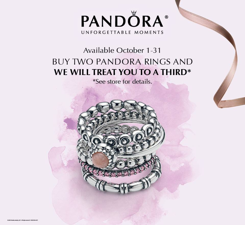 Pandora Jewelry Coupons Printable: Pandora October Free Ring Promo