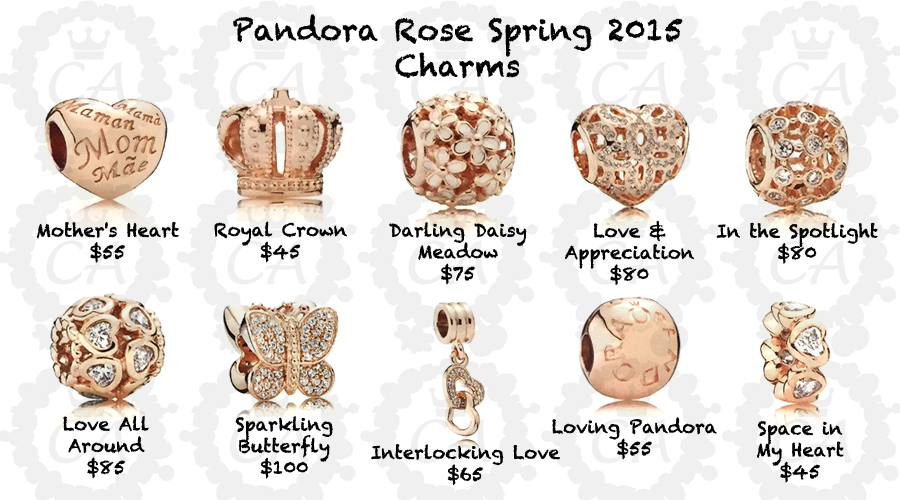 pandora rose gold charm collection