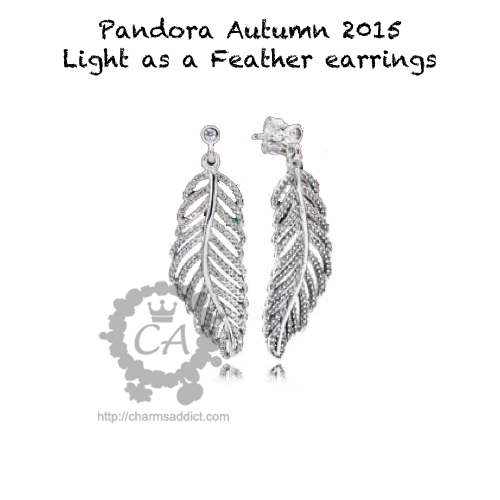 pandora autumn 2015 light as a feather earrings. Black Bedroom Furniture Sets. Home Design Ideas